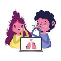 donna e uomo con laptop per la tosse secca e disegno vettoriale virus covid 19