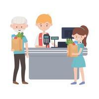 contatore con registratore di cassa venditore vecchio uomo e donna disegno vettoriale