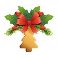 albero di pino dorato di Natale con fiocco e foglie vettore