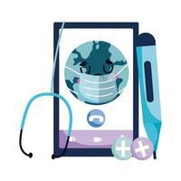 smartphone isolato e mondo con disegno vettoriale maschera