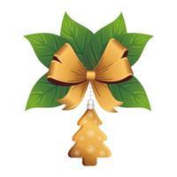 natale albero di pino dorato e fiocco con foglie decorative vettore