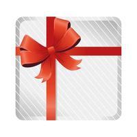 scatola regalo bianca di buon natale con nastro rosso