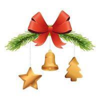 decorazioni natalizie dorate appese a foglie di pino e fiocco