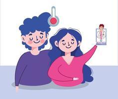 avatar uomo donna con termometro medico e disegno vettoriale smartphone