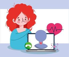 donna con laptop fatica e disegno vettoriale mal di gola