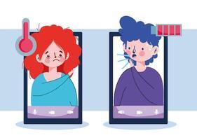 donna e uomo con smartphone febbre tosse secca e disegno vettoriale di stanchezza