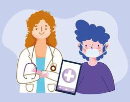 uomo con maschera donna medico e smartphone disegno vettoriale