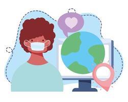 formazione online, ragazzo con computer mondo maschera medica, corsi di sviluppo della conoscenza tramite internet