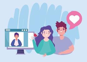 festa online, compleanno o incontro con gli amici, coppia con coppa di vino che parla con un uomo nel computer