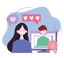 giovane coppia romantica videochiamata immagine di progettazione dello schermo del computer vettore