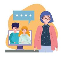 festa online, compleanno o incontro con gli amici, donna che parla con videochiamata di coppia vettore