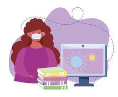 formazione online, ragazza con maschera, libri per computer, classe sul coronavirus, corsi di sviluppo della conoscenza tramite Internet