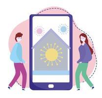 formazione online, persone con smartphone che rimangono a casa, corsi di sviluppo della conoscenza tramite internet