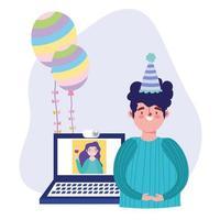 festa online, compleanno o incontro con gli amici, celebrando l'uomo con la donna del computer portatile collegata