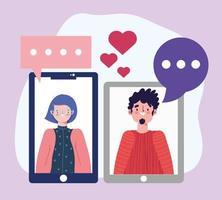 festa in linea, compleanno o incontro di amici, uomo e donna smartphone collegato appuntamento romantico vettore