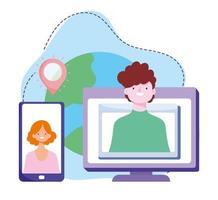formazione online, connessione al computer di smartphone, corsi di sviluppo della conoscenza tramite Internet