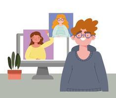 festa online, compleanno o incontro con amici, ragazzo con computer e donne sullo schermo vettore