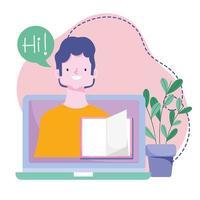 formazione online, insegnante in classe libro schermo laptop, sviluppo della conoscenza corsi utilizzando Internet vettore