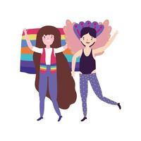 orgoglio parata comunità lgbt, gay con costume e donna con bandiera vettore