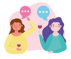 compleanno o incontro con amici, giovani donne con coppe di vino celebrazione festosa vettore