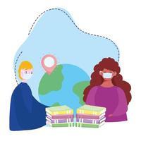 formazione online, persone con maschera medica, libri del mondo, corsi di sviluppo della conoscenza tramite Internet vettore
