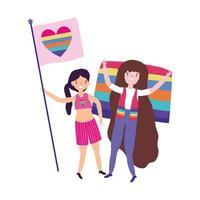 orgoglio parata comunità lgbt, ragazze con bandiera amore decorazione arcobaleno cuore vettore