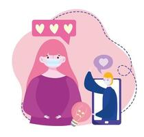 giovane coppia con maschera medica smartphone in chat tramite internet vettore