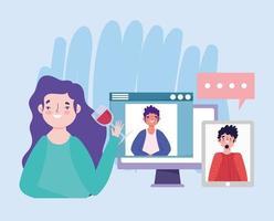 festa online, compleanno o incontro con amici, donna con coppa di vino che parla con uomini da computer e cellulare
