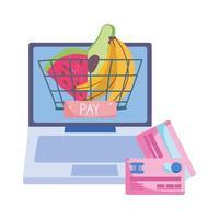 mercato online, cesto di carte bancarie del computer, consegna di cibo nel negozio di alimentari vettore