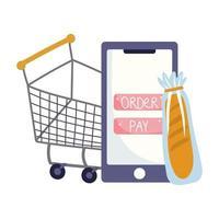mercato online, carrello della spesa per smartphone e pane, consegna di cibo nel negozio di alimentari