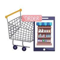 mercato online, pulsante per l'ordine del carrello dello smartphone, consegna del cibo nel negozio di alimentari