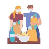 covid 19 coronavirus prevenzione delle distanze sociali, coppia con maschera facciale che tiene i sacchetti della spesa mantenendo le distanze vettore