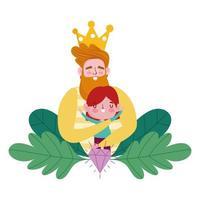 felice giorno di padri, uomo barbuto che abbraccia un cartone animato piccolo figlio vettore