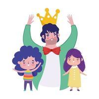 felice festa del papà, celebrando papà con corona e cartoni animati per bambini vettore