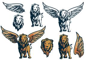Pacchetto Elemento Winged Lion King vettore