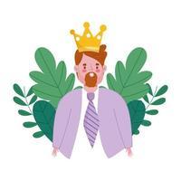 felice giorno di padri, uomo barbuto con decorazione foglia oro corona vettore