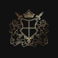 modello di logo di lusso. stemmi logo templated.heraldic elegante scudo logo dorato vettore