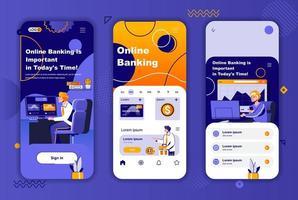 kit di design unico per l'online banking per storie sui social network. vettore