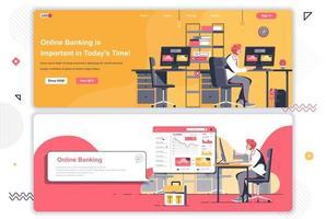 set di pagine di destinazione del banking online. vettore