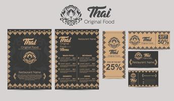 Vettore del modello del menu tailandese