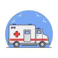 ambulanza illustrata in vettoriale su sfondo bianco