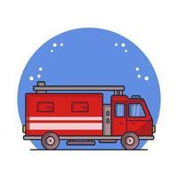 camion dei pompieri illustrato in vettoriale su sfondo bianco