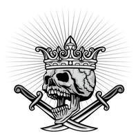 teschio grunge con corona e coltello vettore