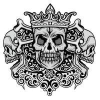 cranio e corona del grunge vettore