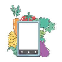 mercato fresco smartphone frutta e verdura cibo sano biologico vettore