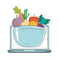 cibo sano biologico del mercato fresco del computer portatile con frutta e verdura vettore