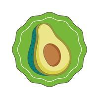 avocado fresco mercato organico cibo sano etichetta icona isolata vettore