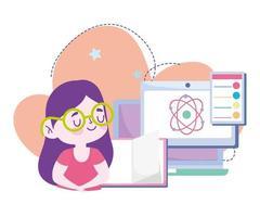 formazione online, informazioni su libri di informatica per studentesse, siti Web e corsi di formazione mobile vettore