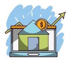 denaro affari investimenti finanziari laptop casa transazione digitale vettore