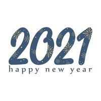 2021 felice anno nuovo, fuochi d'artificio nel biglietto di auguri di numeri
